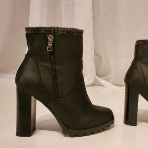 Shoe Dazzle Shoes - Faux leather ankle booties